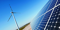 Photovoltaic panels, wind turbine