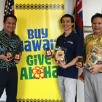 DBEDT Director Luis Salaveria, Jimmy Chan, president of Hawaiian Chip Company, Dennis Ling, administrator DBEDT's Business Development and Support Division