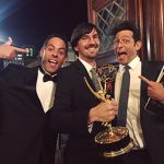 "Jeff Gill (middle), an animator who has worked Comedy Central's South Park, and who along with Evan and Gregg Spiridellis of JibJab, won an Emmy for Netflix children's series, ""Ask the StoryBots"""