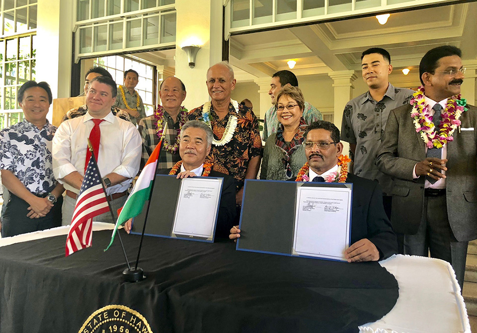 The State of Hawaii and Goa, India, signed an agreement to enter into a sister-state relationship